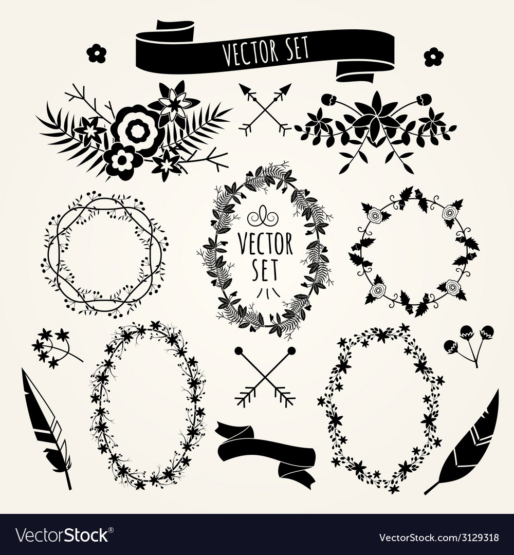 Hand drawn set vintage style design elements vector | Price: 1 Credit (USD $1)