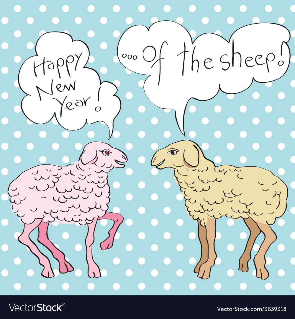 Happy new year of sheep vector | Price: 1 Credit (USD $1)