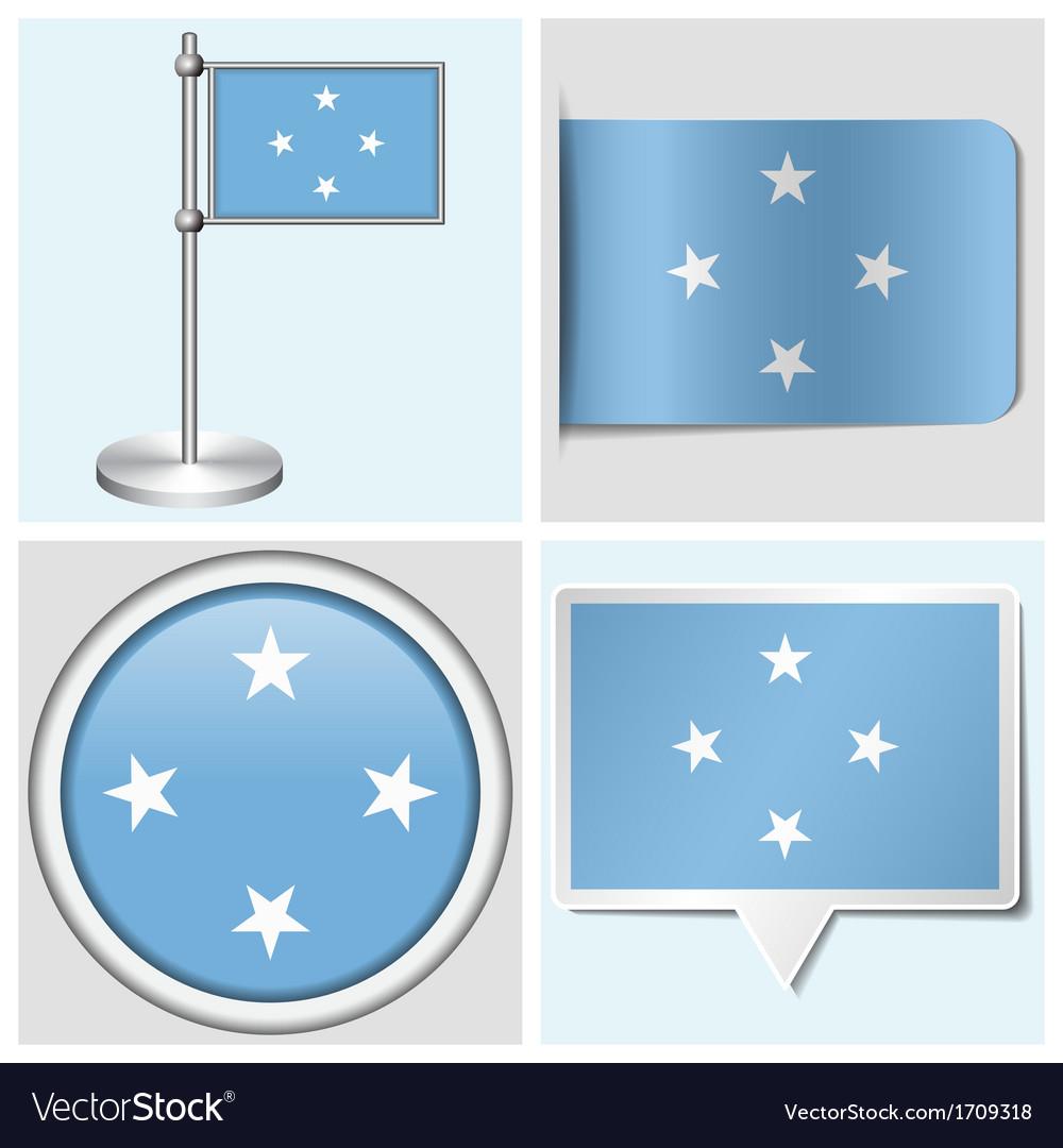Micronesia flag - sticker button label vector | Price: 1 Credit (USD $1)