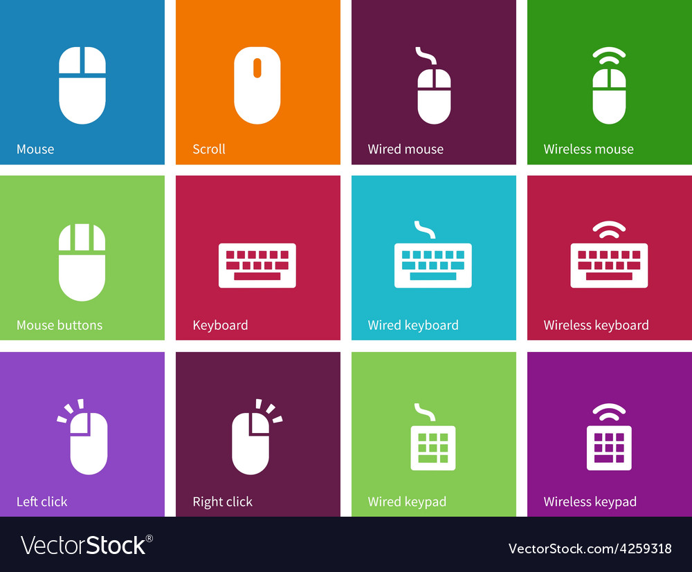 Mouse and num lock icons on color background vector | Price: 1 Credit (USD $1)
