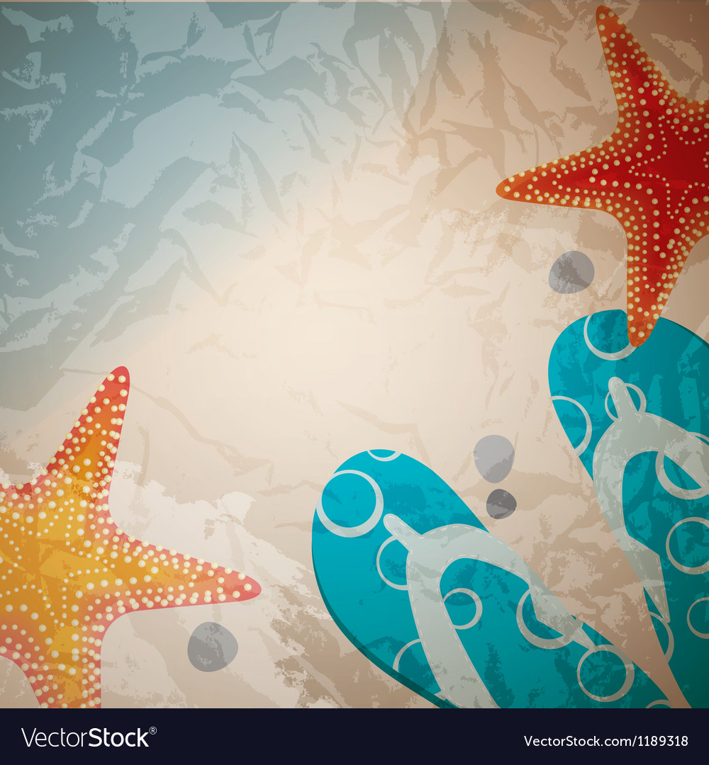 Sandals and starfish at beach nature summer vector | Price: 1 Credit (USD $1)