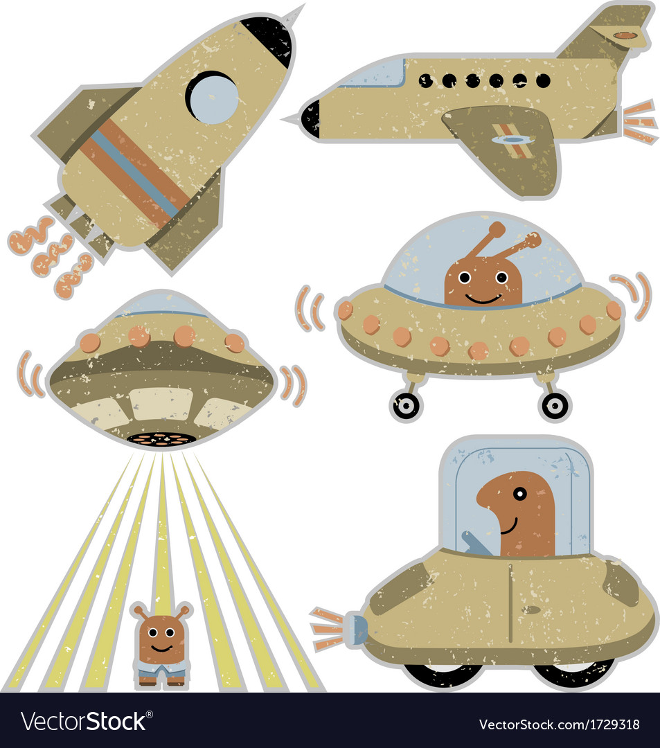 Set of cute spaceships vector | Price: 1 Credit (USD $1)