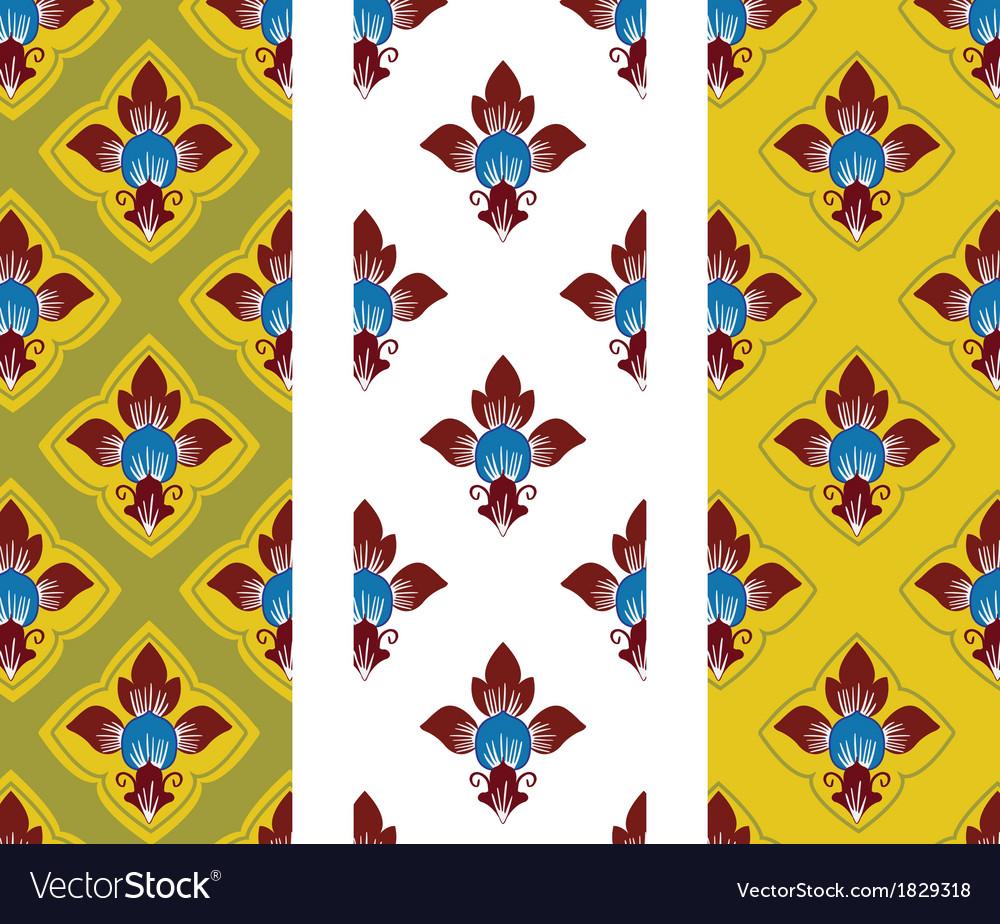 Thai style flower background pattern vector | Price: 1 Credit (USD $1)
