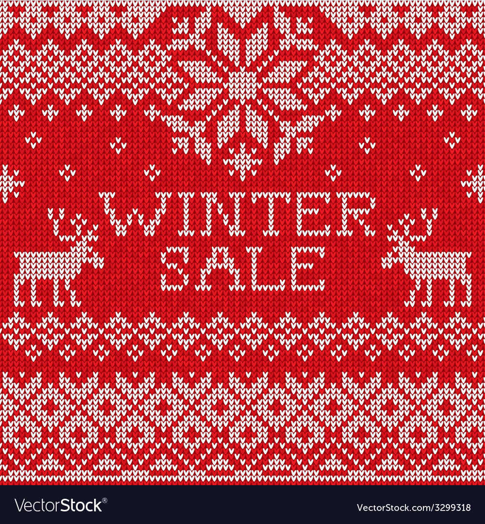 Winter sale scandinavian style seamless knitted vector | Price: 1 Credit (USD $1)