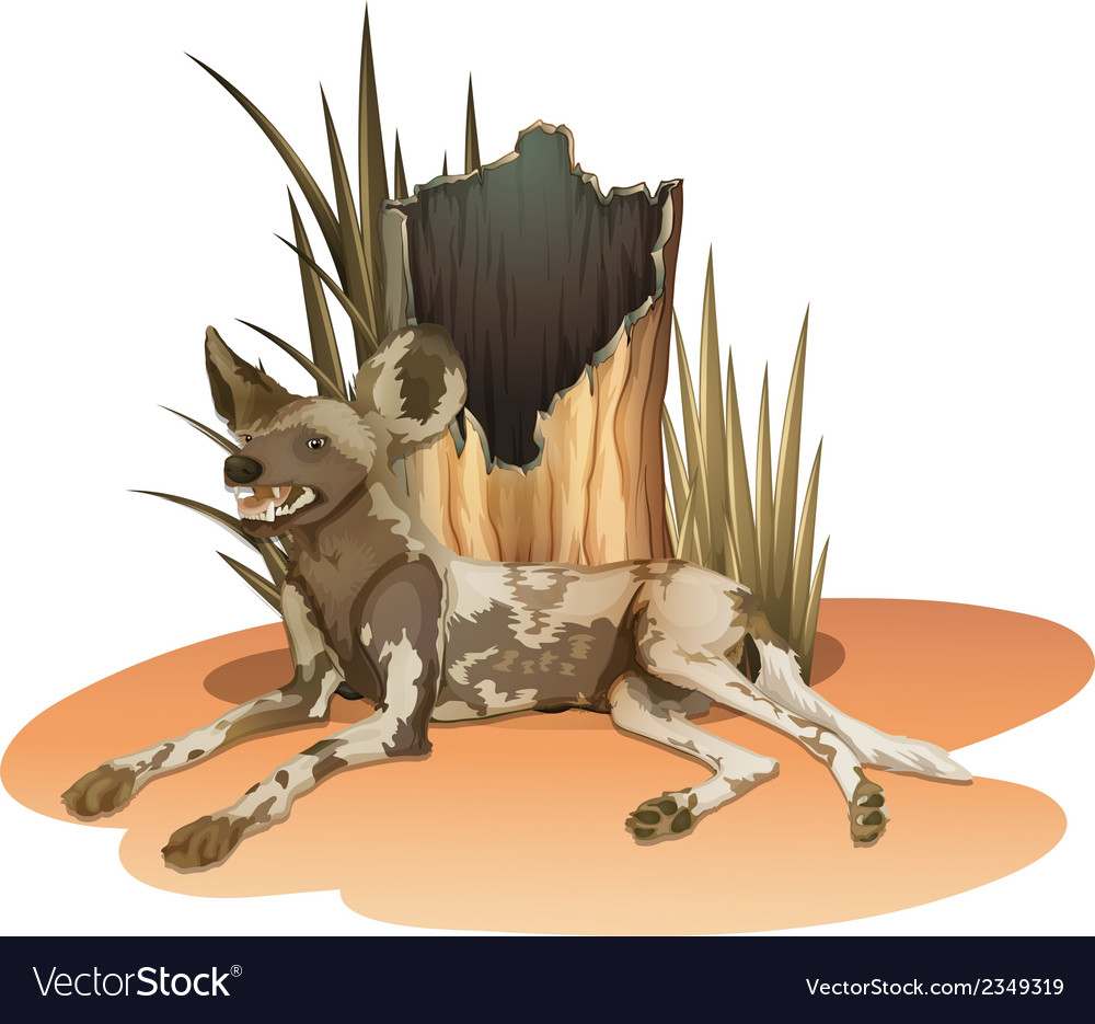 A wild dog near the stump vector | Price: 1 Credit (USD $1)