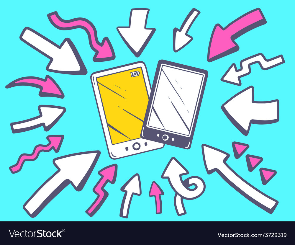 Arrows point to icon of phone on blue bac vector   Price: 1 Credit (USD $1)