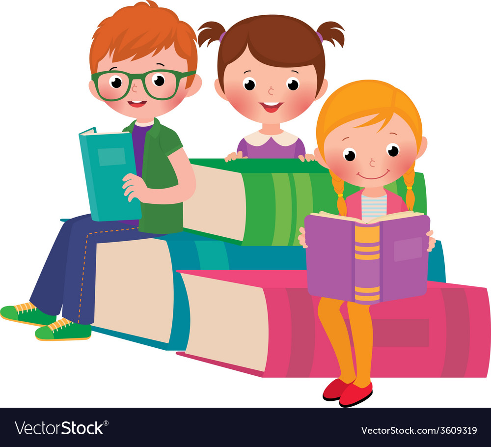 Children reading books vector | Price: 1 Credit (USD $1)