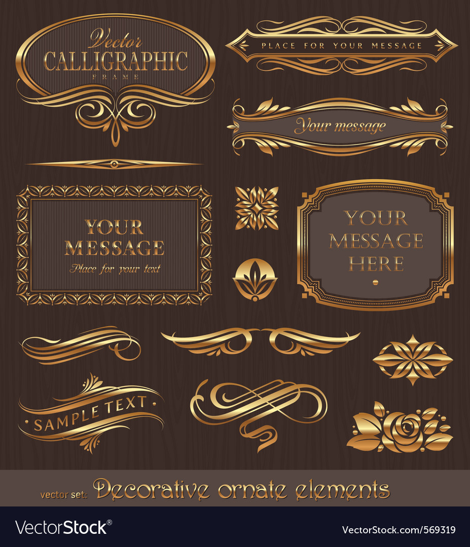 Golden decorative design elements vector | Price: 1 Credit (USD $1)