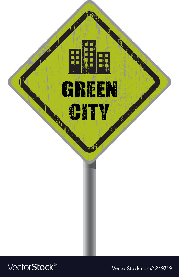 Green city road sign vector   Price: 1 Credit (USD $1)