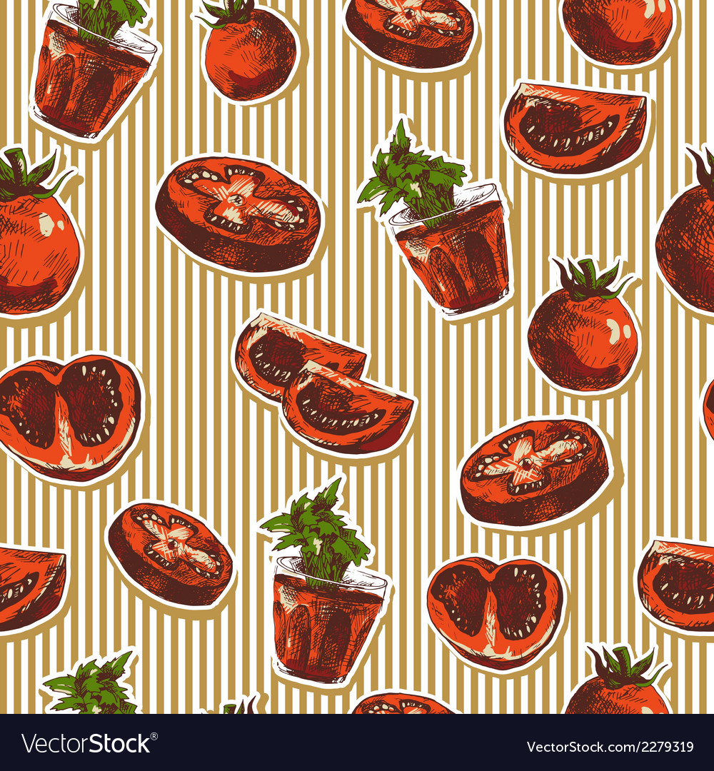 Hand drawn seamless pattern with tomatoes vector | Price: 1 Credit (USD $1)