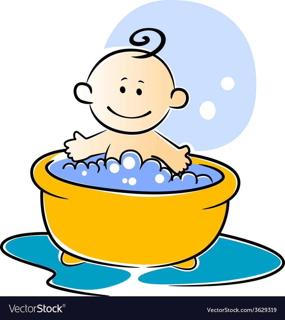 Happy little baby having a bath vector   Price: 1 Credit (USD $1)