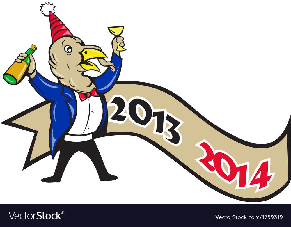 Happy new year 2014 turkey toasting wine cartoon vector