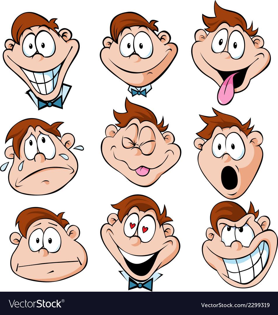 Man emotions - of man with many facial expressions vector | Price: 1 Credit (USD $1)