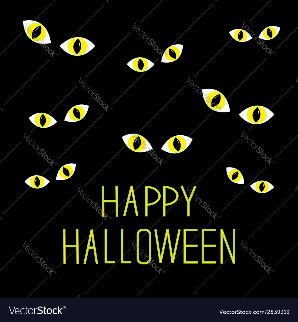Many cat eyes in dark night happy halloween card vector | Price: 1 Credit (USD $1)