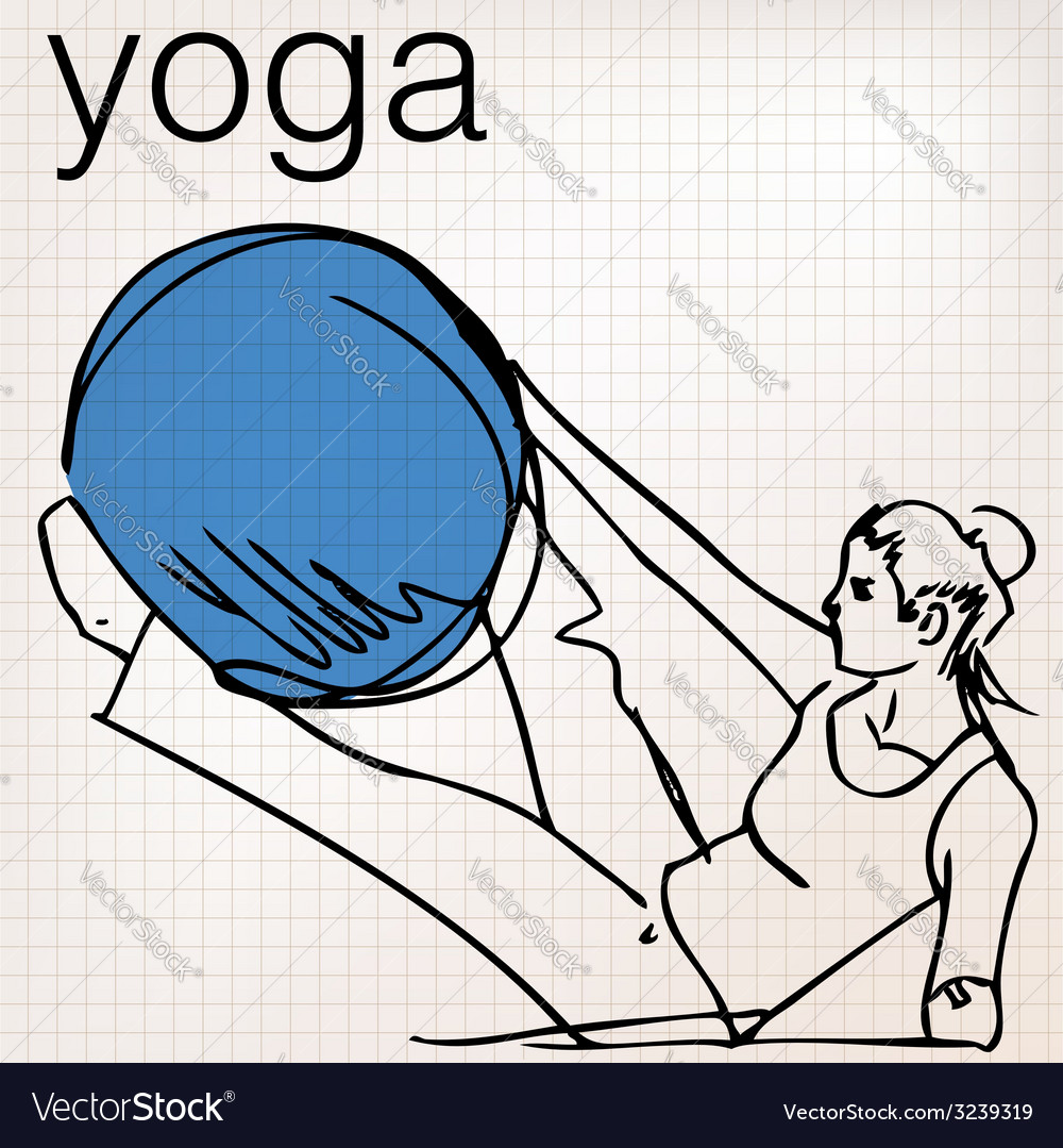 Pilates of woman stability ball gym fitness yoga vector | Price: 1 Credit (USD $1)