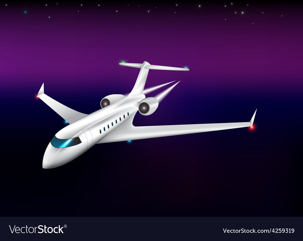 Private plane flying at the nighteps 10 vector | Price: 1 Credit (USD $1)