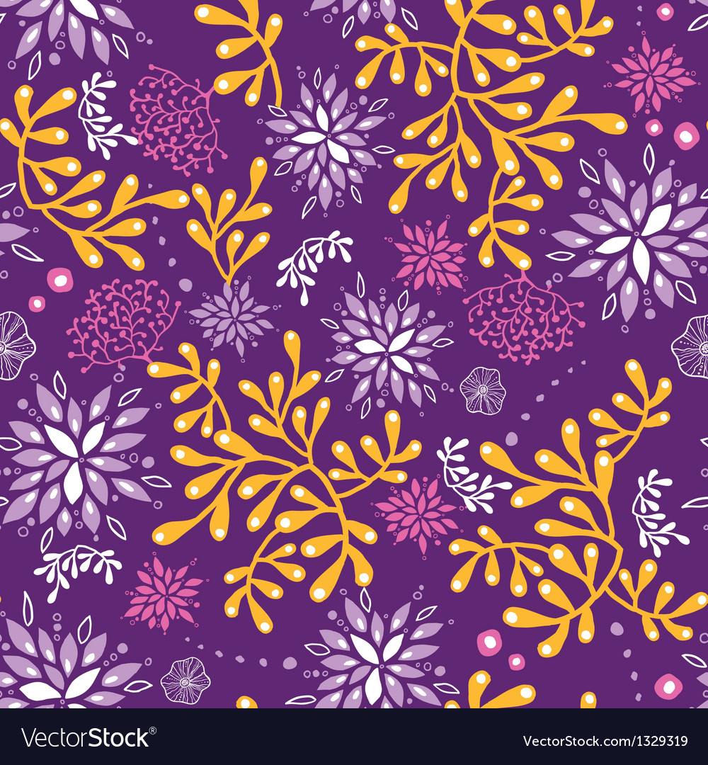 Purple and gold underwater plants seamless pattern vector | Price: 1 Credit (USD $1)
