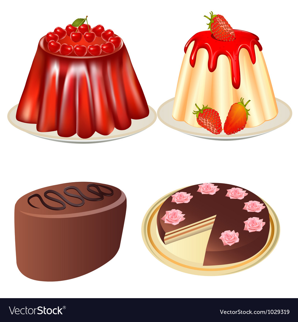 Set dessert jelly with cherry and strawberries cak vector   Price: 1 Credit (USD $1)