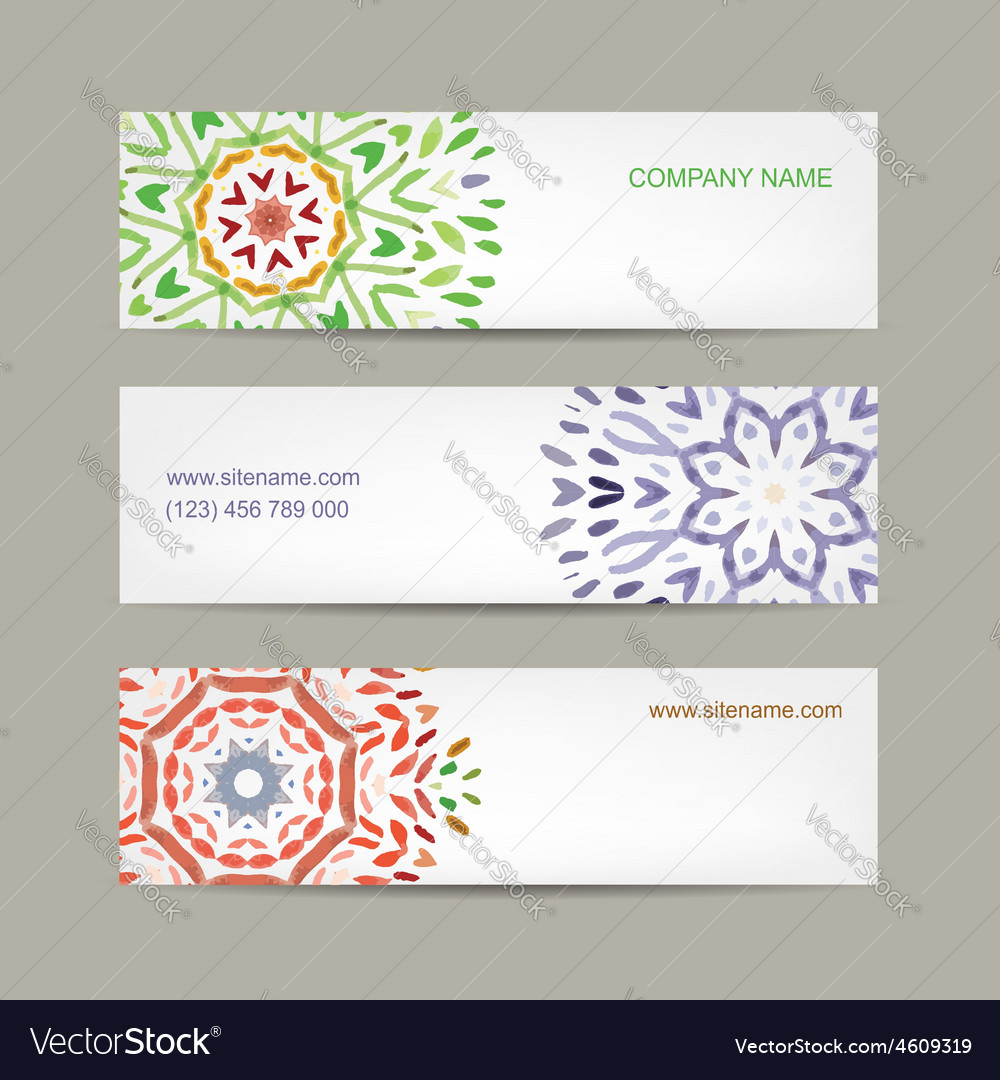 Set of abstract banners design ornate background vector | Price: 1 Credit (USD $1)