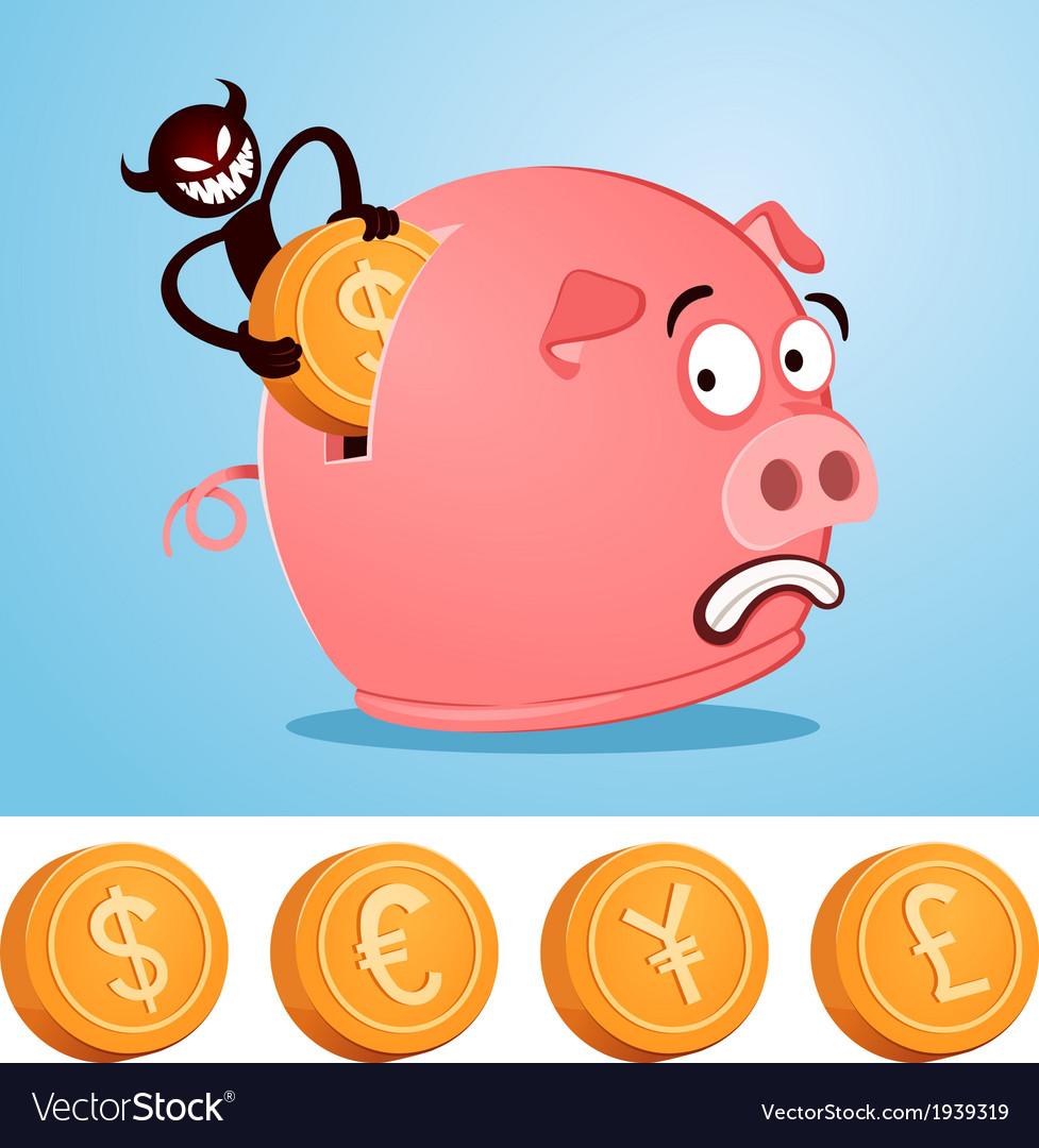 Stealing money from piggybank vector | Price: 1 Credit (USD $1)