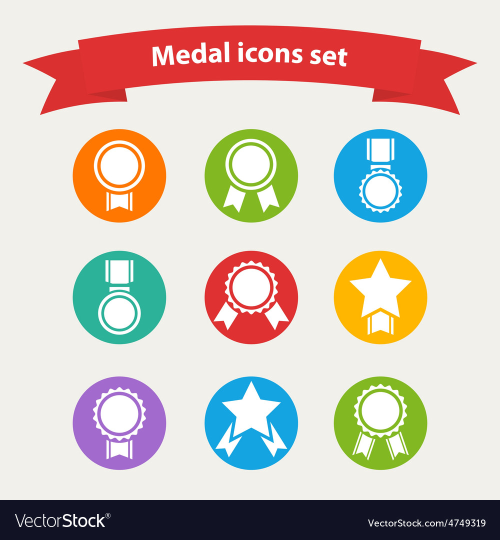 White medalaward icons set vector | Price: 1 Credit (USD $1)