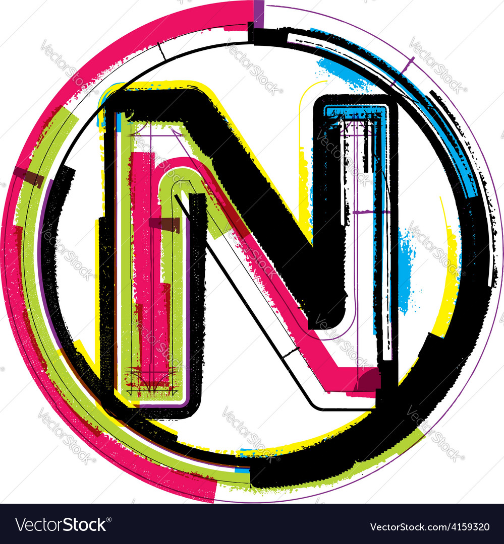 Colorful grunge font letter n vector | Price: 1 Credit (USD $1)