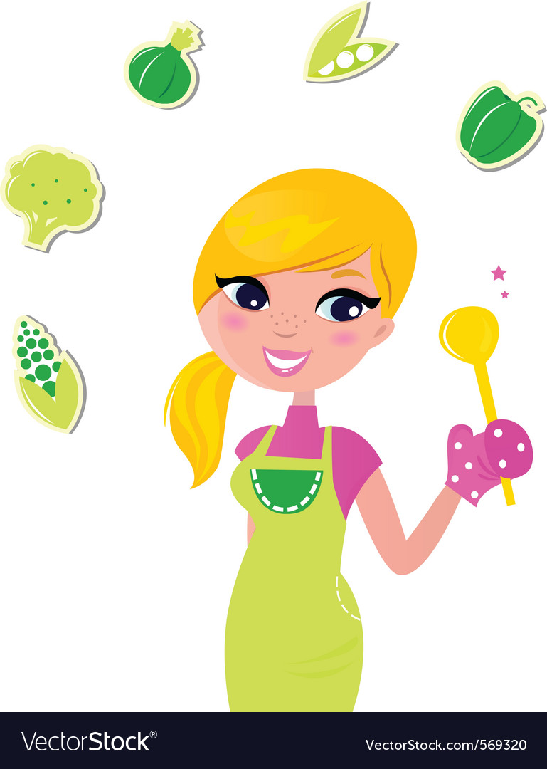Cooking woman preparing healthy green food vector | Price: 1 Credit (USD $1)