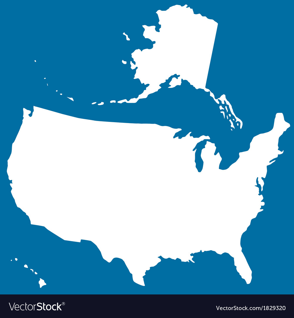 Cutout silhouette map of usa vector | Price: 1 Credit (USD $1)