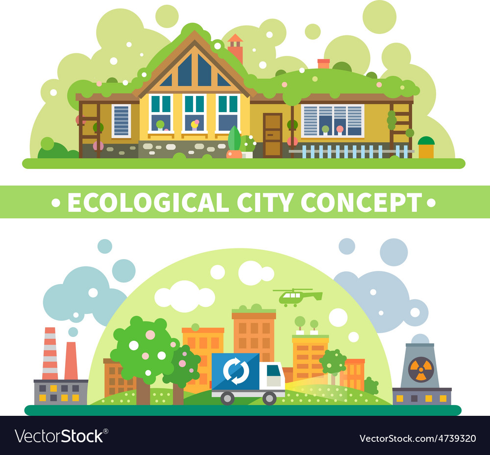 Ecological city concept vector | Price: 3 Credit (USD $3)