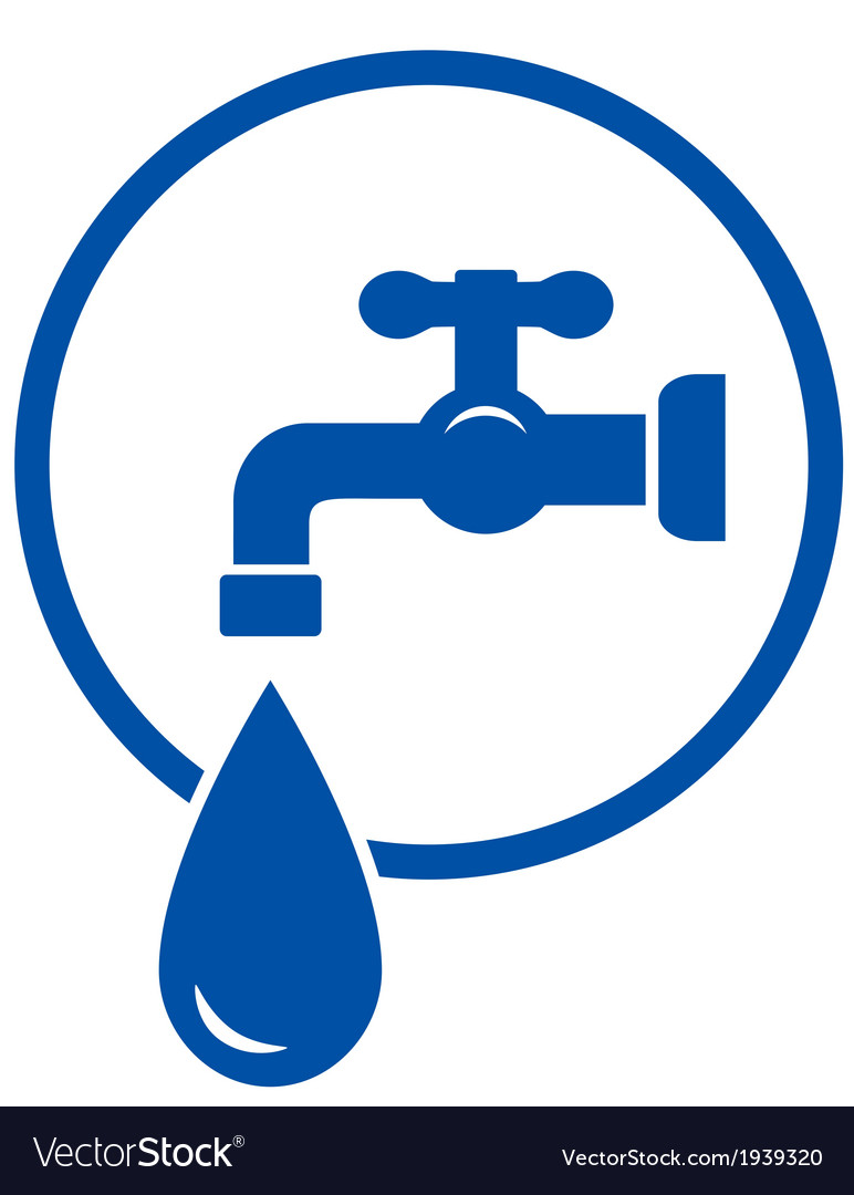 Faucet with water drop vector | Price: 1 Credit (USD $1)