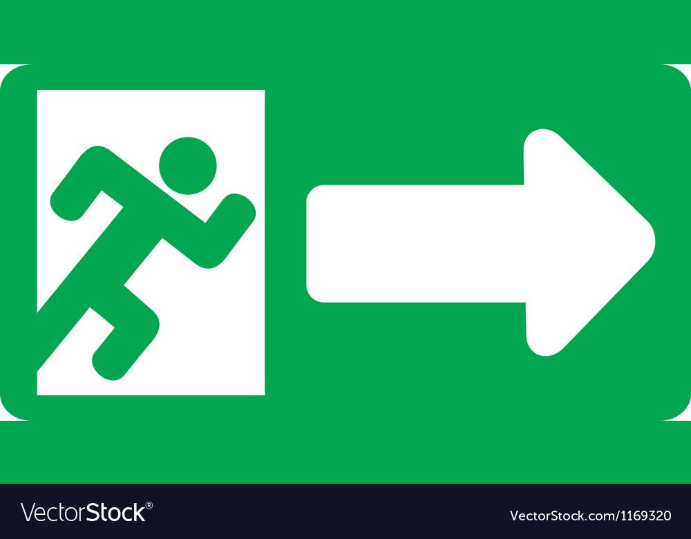 Green exit emergency sign vector | Price: 1 Credit (USD $1)