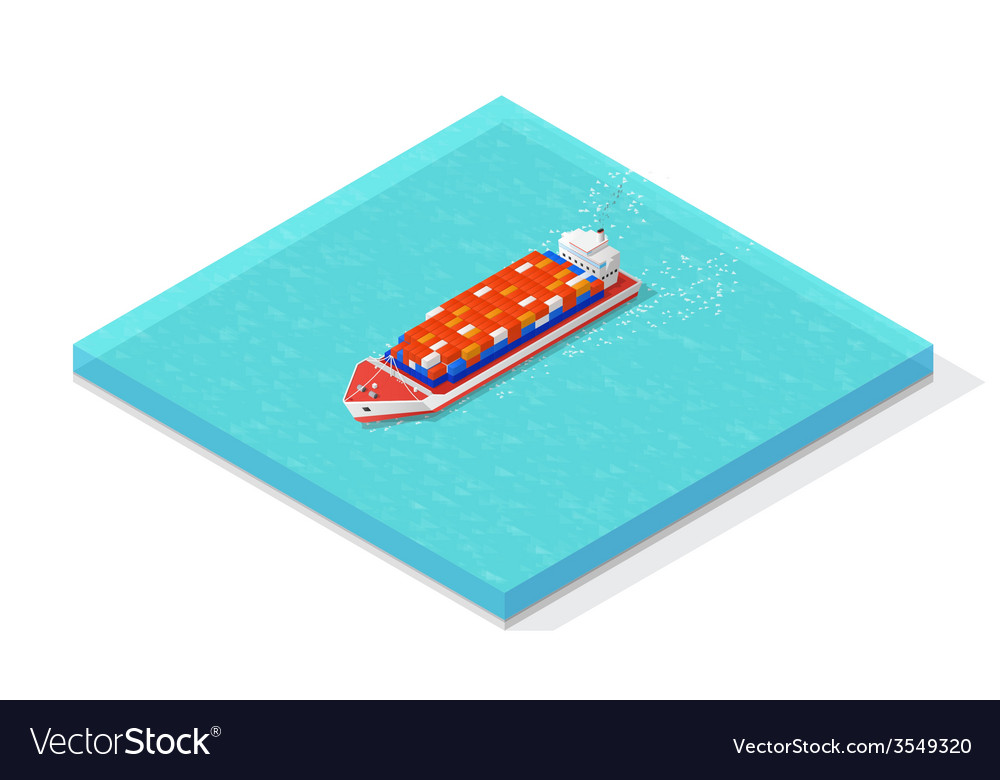 Isometric cargo ship carrying various multi vector | Price: 1 Credit (USD $1)