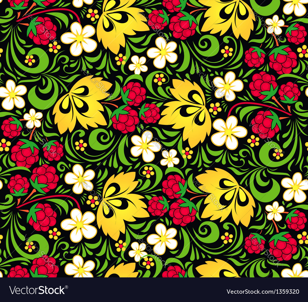 Pattern traditional russian style hohloma vector | Price: 1 Credit (USD $1)