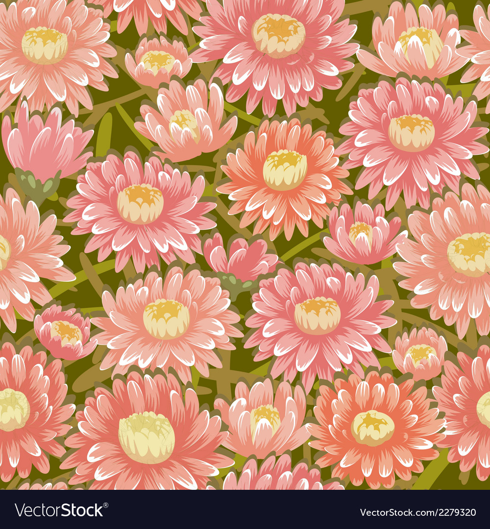 Seamless red chrysanthemum backgrounds vector | Price: 1 Credit (USD $1)