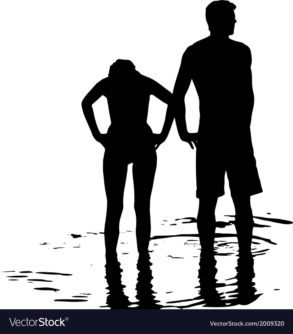 Silhouette of couple in the sea vector | Price: 1 Credit (USD $1)