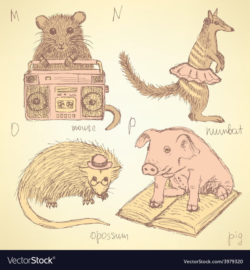 Sketch fancy animals alphabet in vintage style vector | Price: 1 Credit (USD $1)