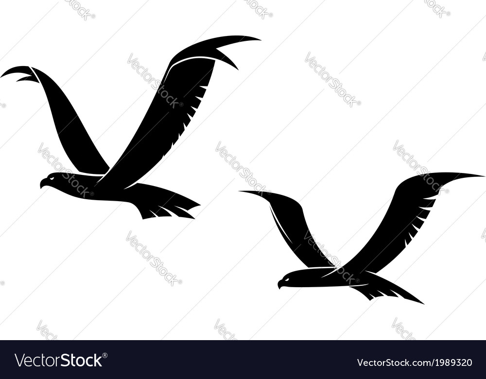 Two flying birds in silhouette vector | Price: 1 Credit (USD $1)