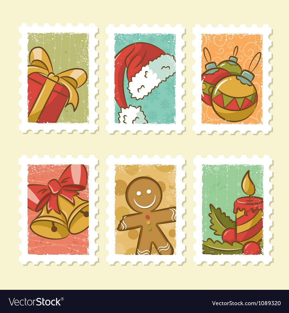 Vintage christmas stamps collection vector | Price: 3 Credit (USD $3)
