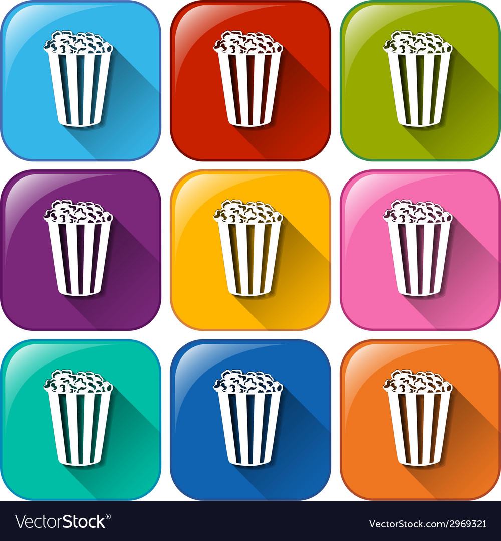 Buttons with popcorns vector | Price: 1 Credit (USD $1)
