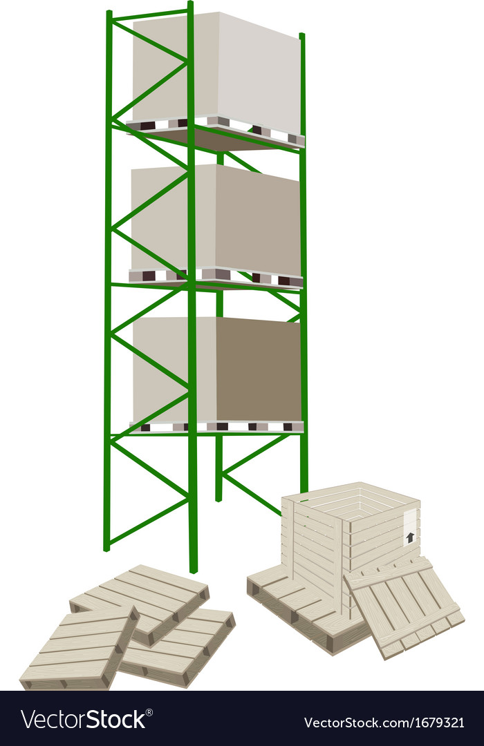 Cargo shelf in a warehouse with shipping box vector | Price: 1 Credit (USD $1)