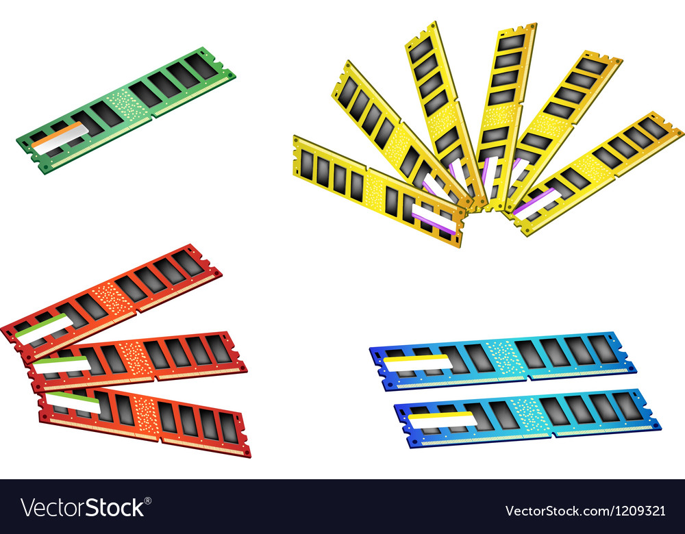 Colorful set of computer ram icon vector | Price: 1 Credit (USD $1)