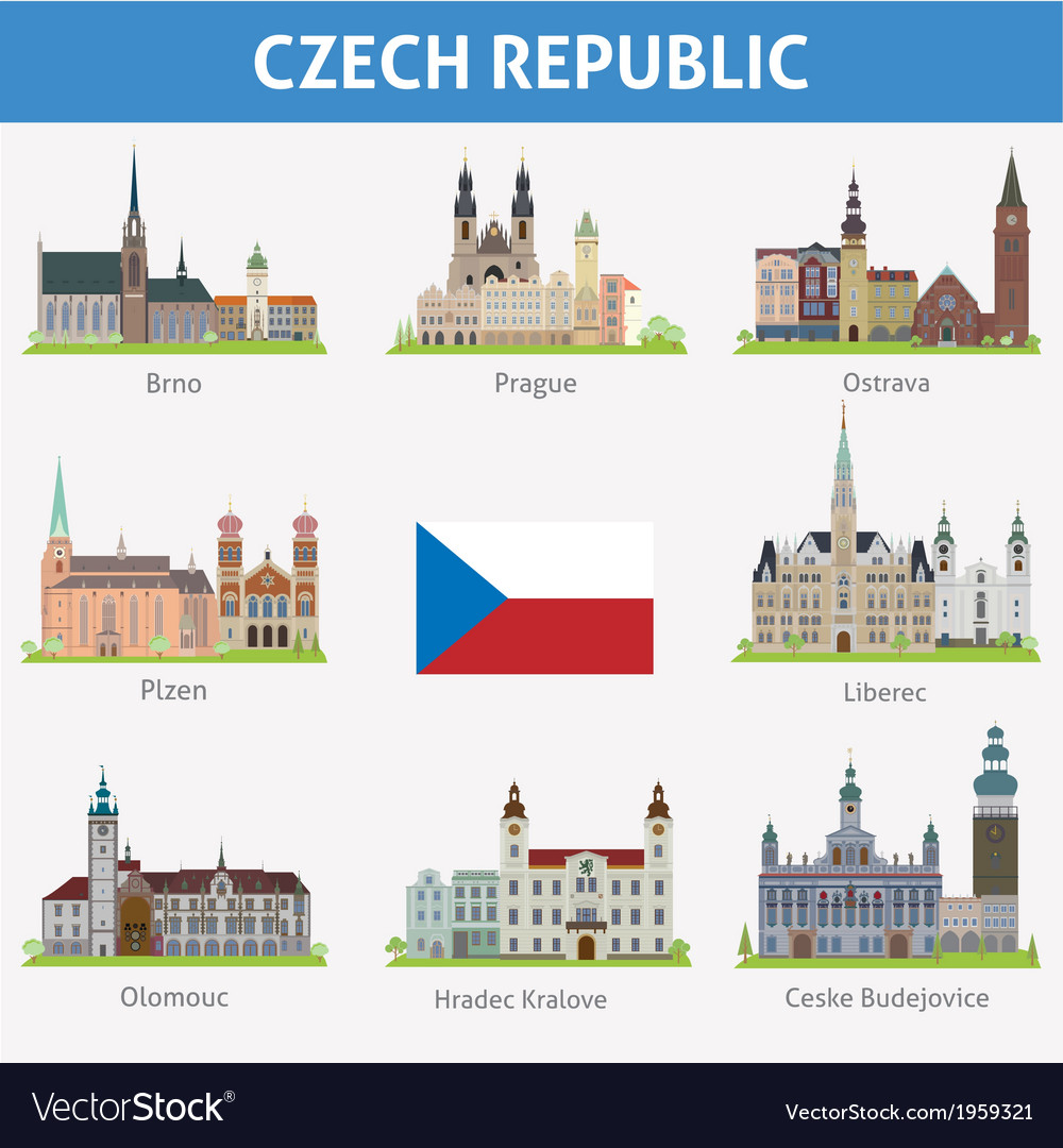 Czech symbols of cities vector | Price: 1 Credit (USD $1)