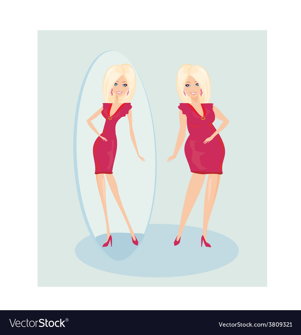 Full lady enjoys her slim reflection vector | Price: 1 Credit (USD $1)