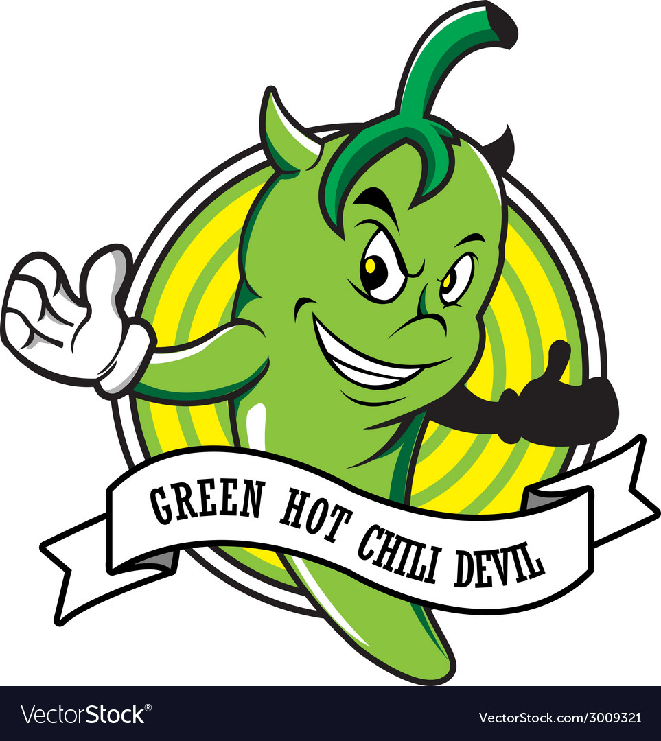 Green hot chili devil cartoon vector | Price: 1 Credit (USD $1)