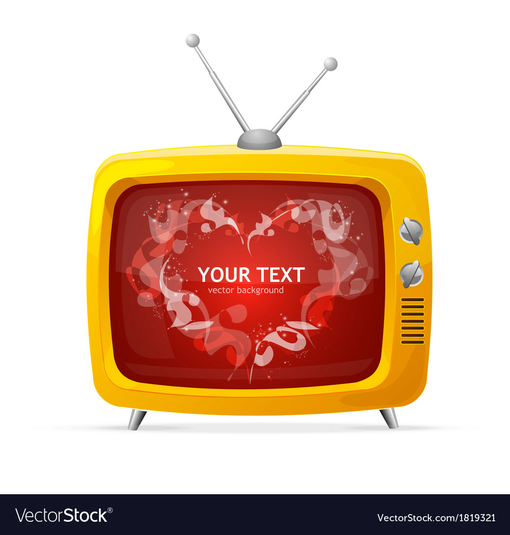 Heart and tv valentines day card vector | Price: 1 Credit (USD $1)