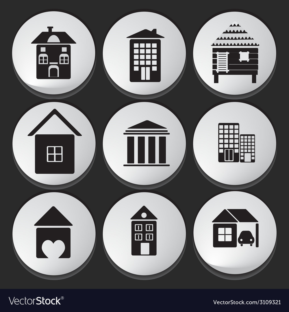 House and building icon set vector | Price: 1 Credit (USD $1)