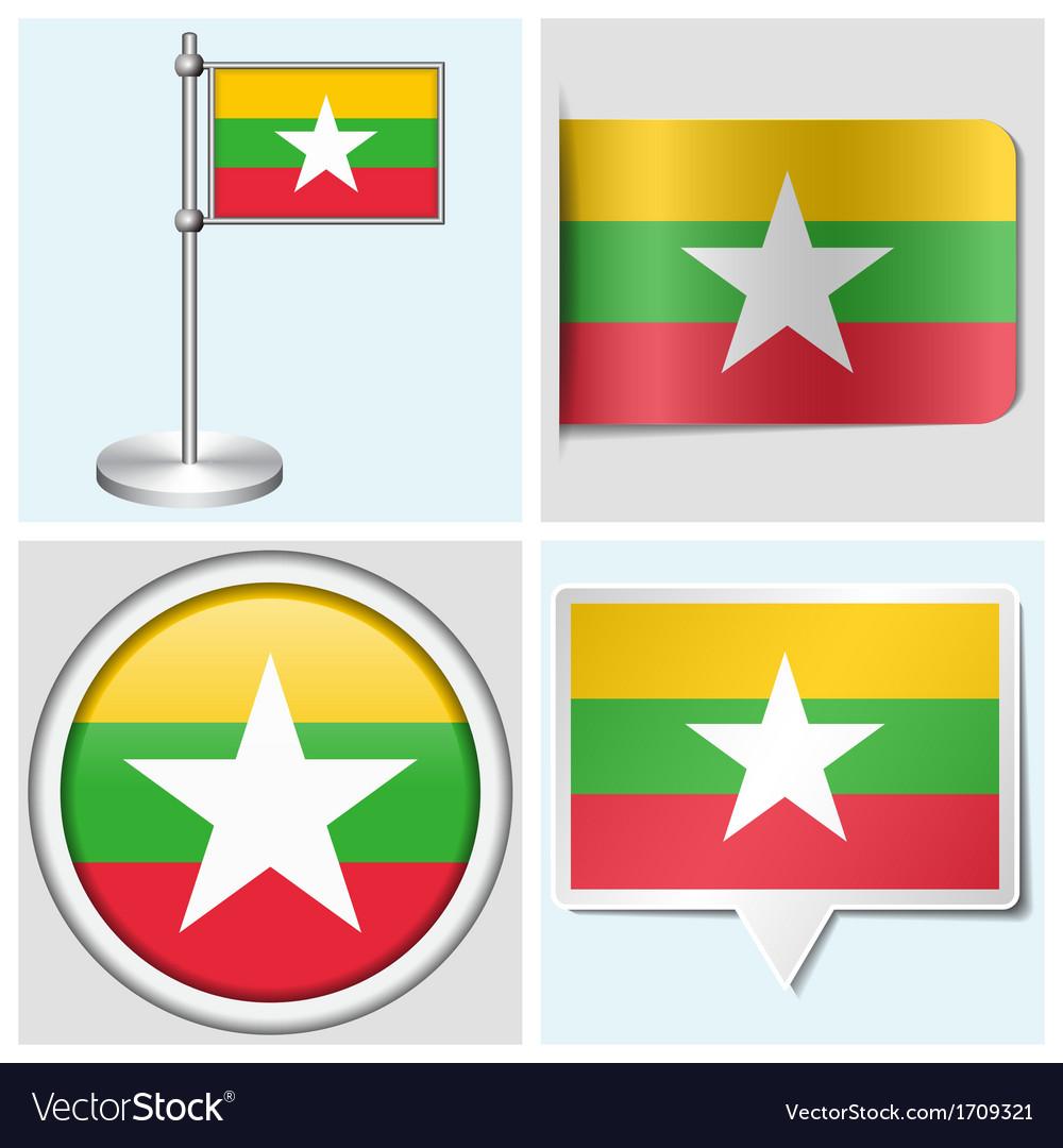 Myanmar flag - sticker button label flagstaff vector | Price: 1 Credit (USD $1)