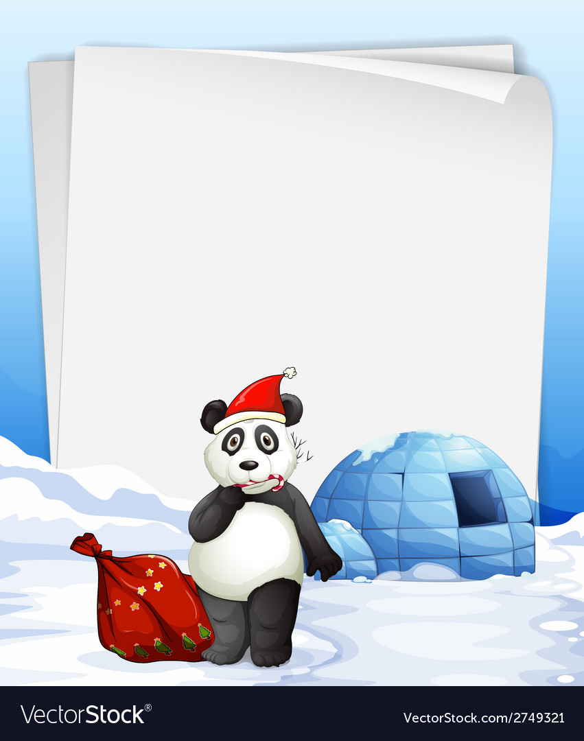 Panda and igloo vector | Price: 1 Credit (USD $1)
