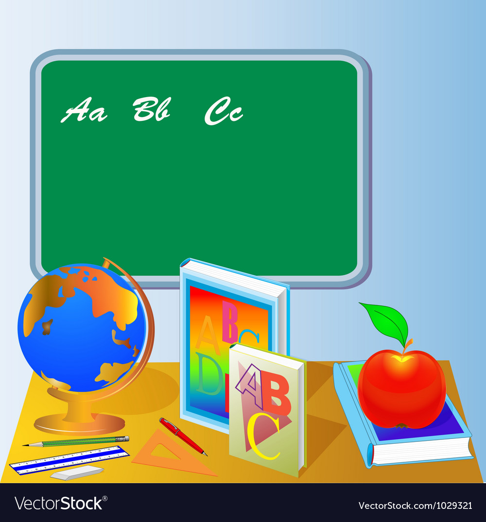 School board with globe book and apple vector | Price: 1 Credit (USD $1)