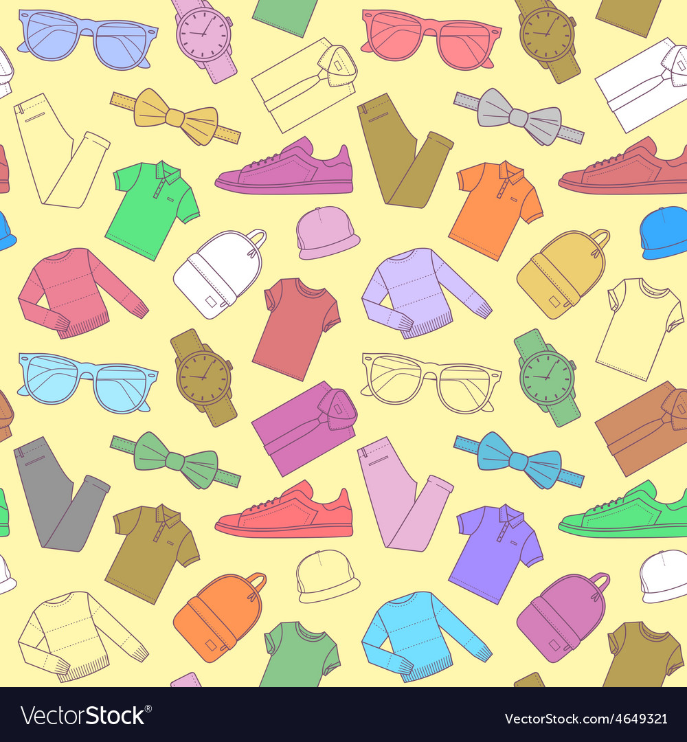 Seamless pattern of mens clothing items vector | Price: 1 Credit (USD $1)